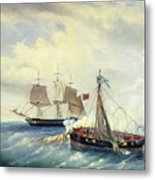 Battle Between The Russian Ship Opyt And A British Frigate Off The Coast Of Nargen Island  Metal Print