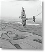 Battle Of Britain Spitfire Black And White Version Metal Print