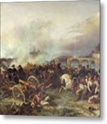 Battle Of Montereau Metal Print by Jean Charles Langlois