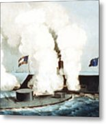 Battle Of The Monitor And Merrimack Metal Print