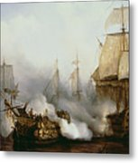 Battle Of Trafalgar Metal Print by Louis Philippe Crepin