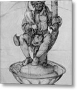 Bauer Goose With A Fountain Figure Metal Print