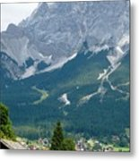 Bavarian Alps With Shed Metal Print