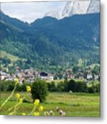 Bavarian Alps With Village And Flowers Metal Print