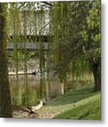 Bavarian Covered Bridge Over The Cass River Frankenmuthmichigan Metal Print