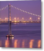 Bay Bridge At Dusk Metal Print by Sean Duan