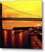 Bay Bridge Black And Orange Metal Print