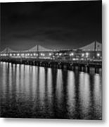 Bay Bridge San Francisco California Black And White Metal Print
