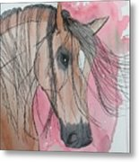 Bay Horse Watercolor Metal Print