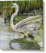 Bayou Caddy Great Egret Metal Print