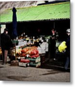 Bazaar On The Outskirts Of A Small Town Metal Print