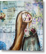 Be Brave Inspirational Mixed Media Folk Art Metal Print