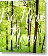 Be Here Now Green Forest In Spring Metal Print