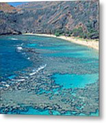 Beach And Haunama Bay, Oahu, Hawaii Metal Print