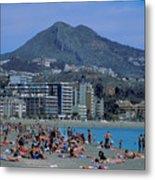 Beach At Barcelona In Spain Metal Print