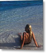 Beach At Little Cayman Metal Print