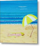 Beach Babe With All She Needs Metal Print