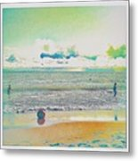 Beach Ball And Swimmers Metal Print