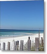 Beach Behind The Fence Metal Print