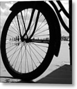 Beach Bicycle Metal Print