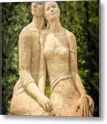 Beach Buddies Blue Water Sand Sculpture Metal Print