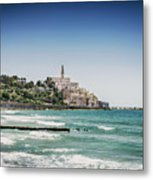 Beach By Jaffa Yafo Old Town Area Of Tel Aviv Israel Metal Print