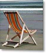 Beach Chair And Ocean Stripes Metal Print