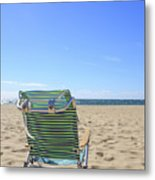 Beach Chair On A Sandy Beach Metal Print