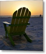 Beach Chair Sunset Metal Print
