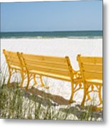 Beach Chairs By Darrell Hutto Metal Print
