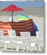Beach Chairs Metal Print by Lori Seaman