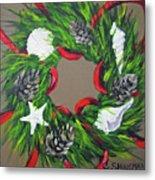 Beach Christmas Wreath Metal Print