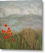 Beach Daisies On Dune Metal Print