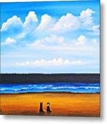 Beach Dogs Metal Print