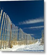 Beach Fence And Snow Metal Print