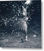 Beach Fire Works Metal Print