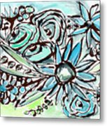 Beach Glass Flowers 1- Art By Linda Woods Metal Print