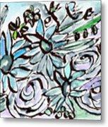 Beach Glass Flowers 2- Art By Linda Woods Metal Print