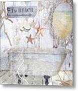 Beach House Bath Metal Print
