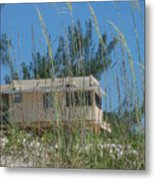 Beach House Through Sea Oats Metal Print