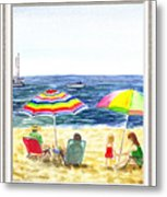 Beach House Window Metal Print