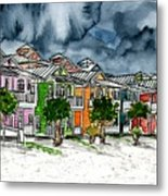 Beach Houses Watercolor Painting Metal Print
