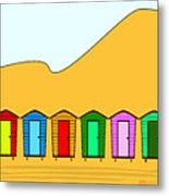 Beach Huts And Sand Metal Print