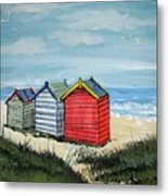 Beach Huts On The Sand Metal Print