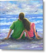 Beach Lovers Pink And Green Metal Print