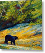 Beach Lunch - Black Bear Metal Print