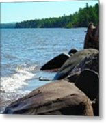 Beach On The Rocks Metal Print
