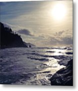 Beach - Oregon - Golden Sun Metal Print