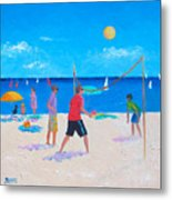 Beach Painting Beach Volleyball  By Jan Matson Metal Print