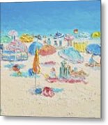 Beach Painting - Crowded Beach Metal Print